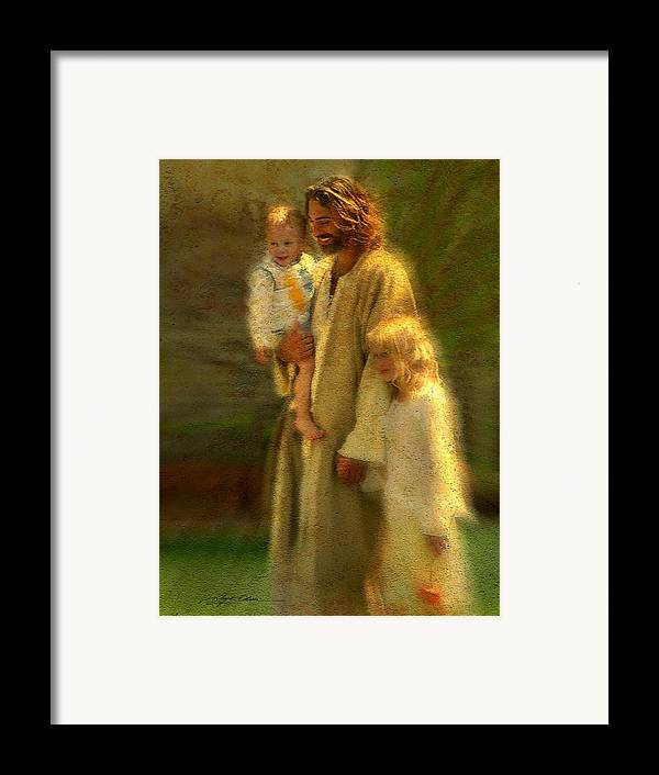 Jesus Framed Print featuring the painting In The Arms Of His Love by Greg Olsen