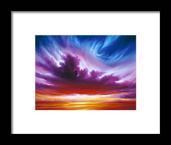 Sunrise; Sunset; Power; Glory; Cloudscape; Skyscape; Purple; Red; Blue; Stunning; Landscape; James C. Hill; James Christopher Hill; Jameshillgallery.com; Ocean; Lakes; Genesis; Creation; Quantom; Singularity Framed Print featuring the painting In the Beginning by James Christopher Hill