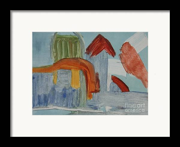 Abstract Meditterenean City Sky Blue Leilaatkinson Original Artwork Framed Print featuring the painting In The Blue by Leila Atkinson