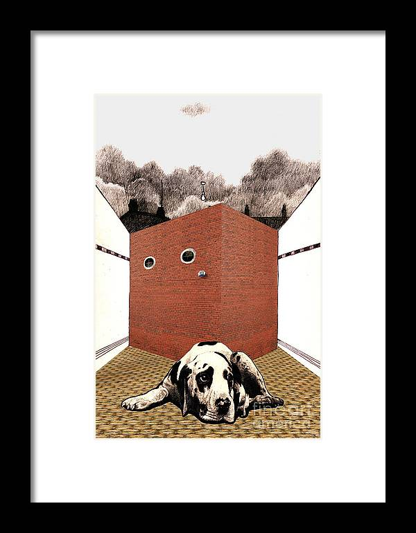 Brick Framed Print featuring the digital art In The Dog House by Andy Mercer