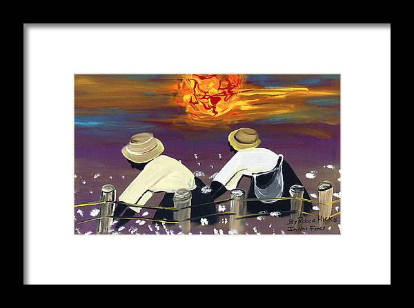 Under The Sun Framed Print featuring the painting In The Fence by Robert Lee Hicks