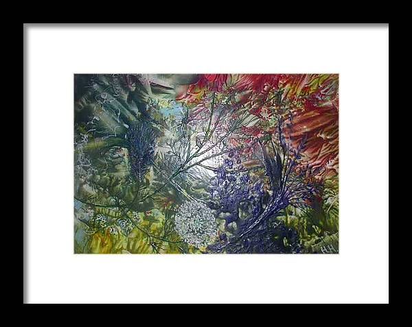 Abstract Framed Print featuring the painting In The Forest by Heather Hennick
