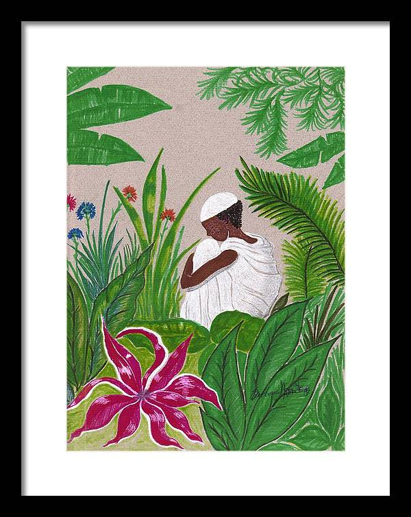 Framed Print featuring the mixed media In The Garden by Bee Jay