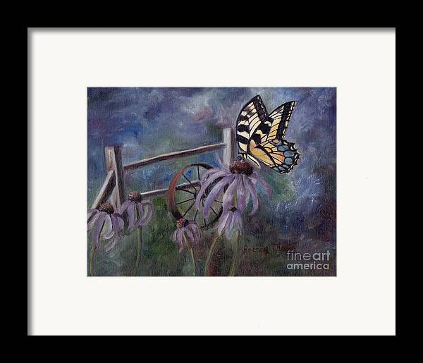 Butterfly Framed Print featuring the painting In The Garden by Brenda Thour