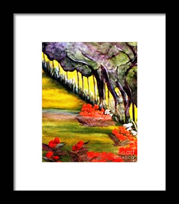 Spring Framed Print featuring the painting In The Garden by Duygu Kivanc