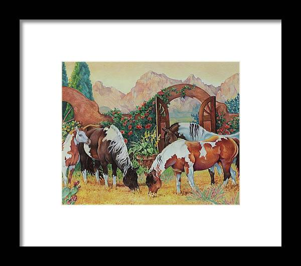 Pintos Framed Print featuring the painting In The Garden by Eden Alvernaz