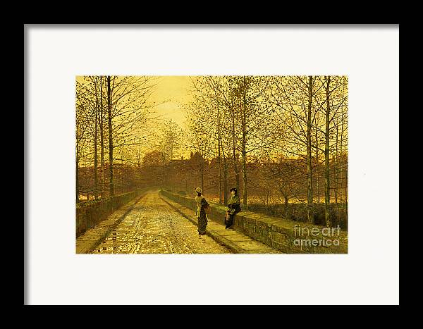 The Framed Print featuring the painting In The Golden Gloaming by John Atkinson Grimshaw