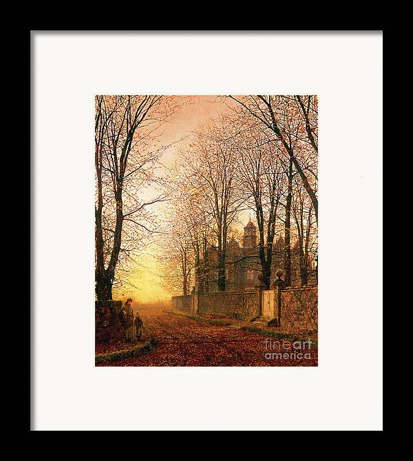 In The Golden Olden Time Framed Print featuring the painting In The Golden Olden Time by John Atkinson Grimshaw
