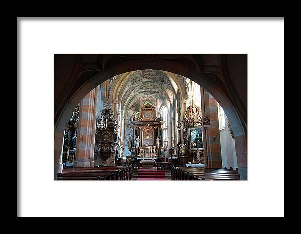 Church Framed Print featuring the photograph In The Gothic-baroque Church by Nicola Simeoni