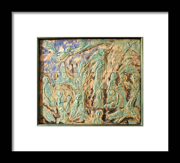 Green Blue Ceramics Relief Fairy-story Brownie Mystic Framed Print featuring the relief In The Green Mist by Raimonda Jatkeviciute-Kasparaviciene