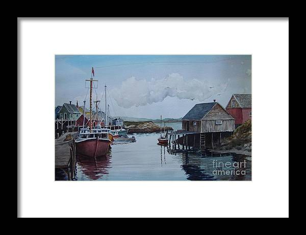 Harbor Framed Print featuring the painting In The Harbor by Oscar Rayneri