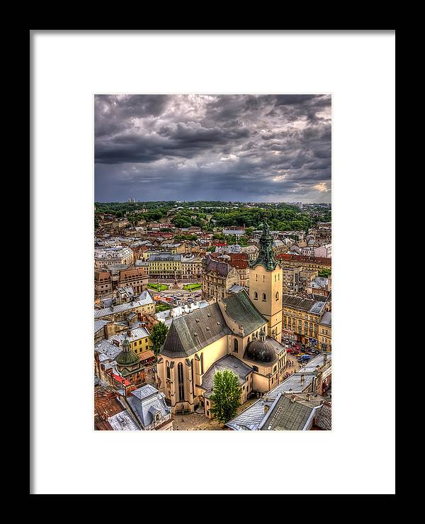 Above Framed Print featuring the photograph In The Heart Of The City by Evelina Kremsdorf