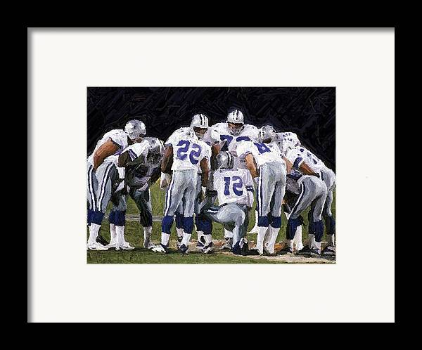 Dallas Cowboys Framed Print featuring the digital art In The Huddle by Carrie OBrien Sibley