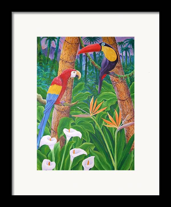 Tropical Landscape Birds Flowers Framed Print featuring the painting In The Jungle by Jubamo