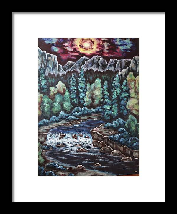 Sunset Framed Print featuring the painting In The Land Of Dreams by Cheryl Pettigrew