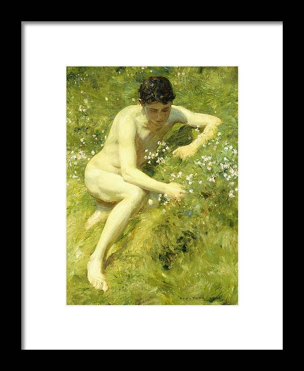 Countryside Framed Print featuring the painting In The Meadow by Henry Scott Tuke