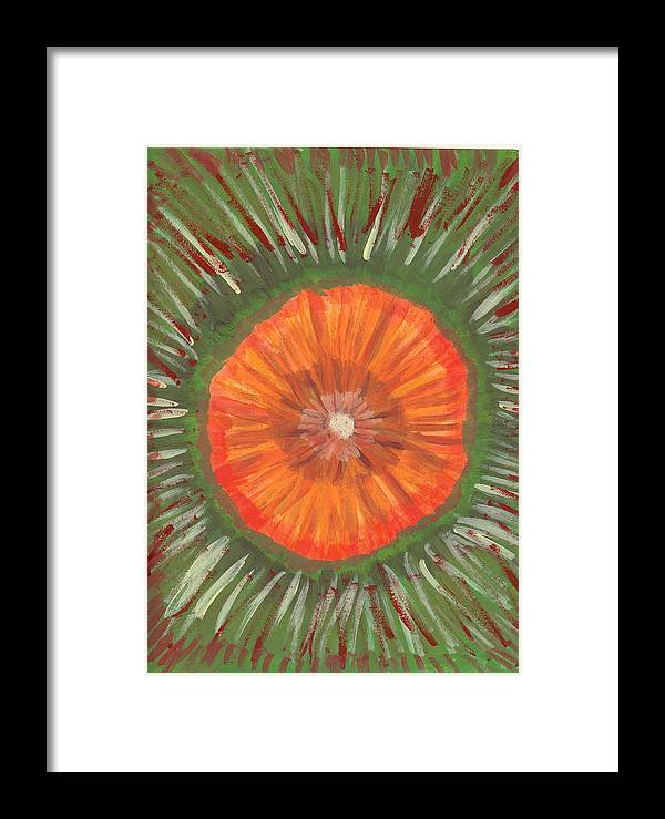 Flower Framed Print featuring the painting In The Middle Of It All by Laura Lillo