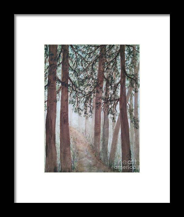 Trees Framed Print featuring the painting In The Mist by Susan Nielsen
