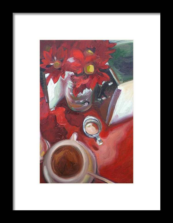 Coffee Framed Print featuring the painting In The Mood For Coffee by Aleksandra Buha