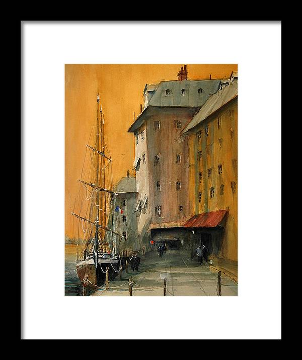 Watercolor Framed Print featuring the painting In the Port of Marseille by Charles Rowland