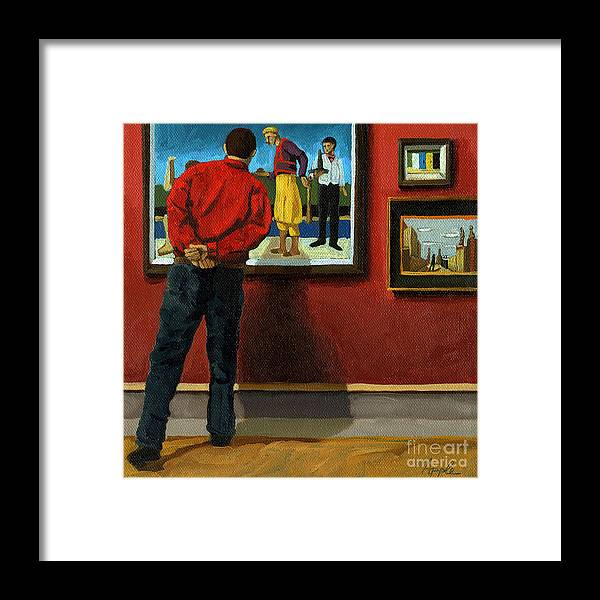 Portrait Artwork Framed Print featuring the painting In The Red - Painting by Linda Apple