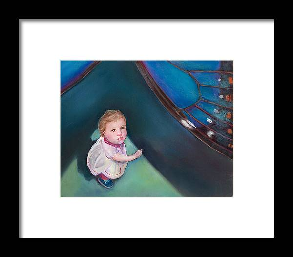In The Shadow Of The Butterfly Framed Print featuring the painting In The Shadow Of The Butterfly by Mary Johnson
