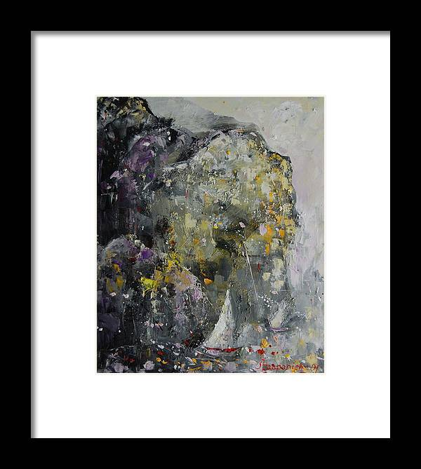 Abstract Framed Print featuring the painting In The Shelter Of The Wind by Sari Haapaniemi