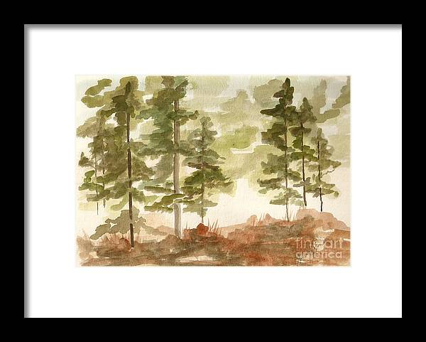 Trees Framed Print featuring the painting In the Trees by Jackie Mueller-Jones