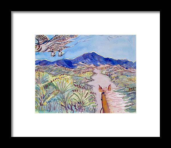 Owl Framed Print featuring the painting In The Wash by Virginia Vovchuk