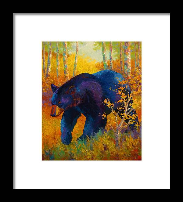 Bear Framed Print featuring the painting In To Spring - Black Bear by Marion Rose