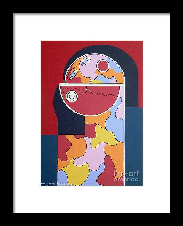 Red Wine Humor Constructivisme Framed Print featuring the painting In Vino Veritas by Hildegarde Handsaeme