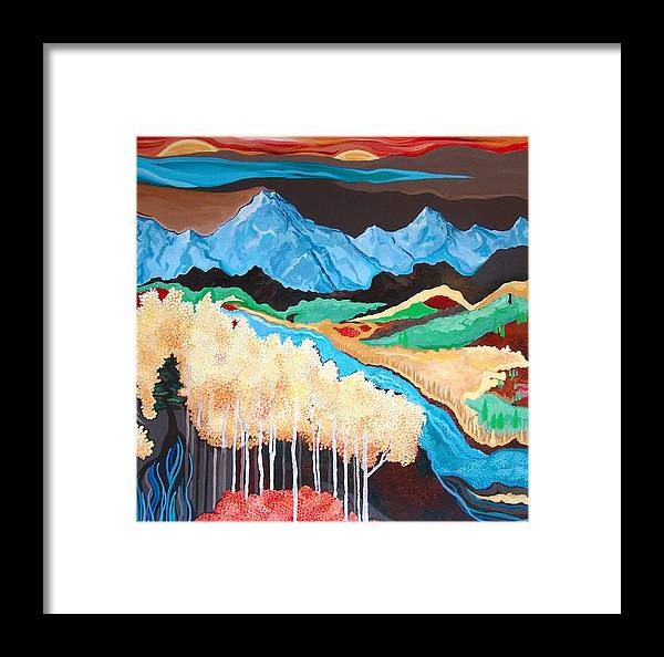 Landscape Mountains Trees Rivers Valleys Framed Print featuring the painting In Your Dreams by Rebecca Robinson