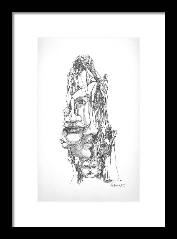 Surreal Framed Print featuring the drawing In Your Head by Padamvir Singh