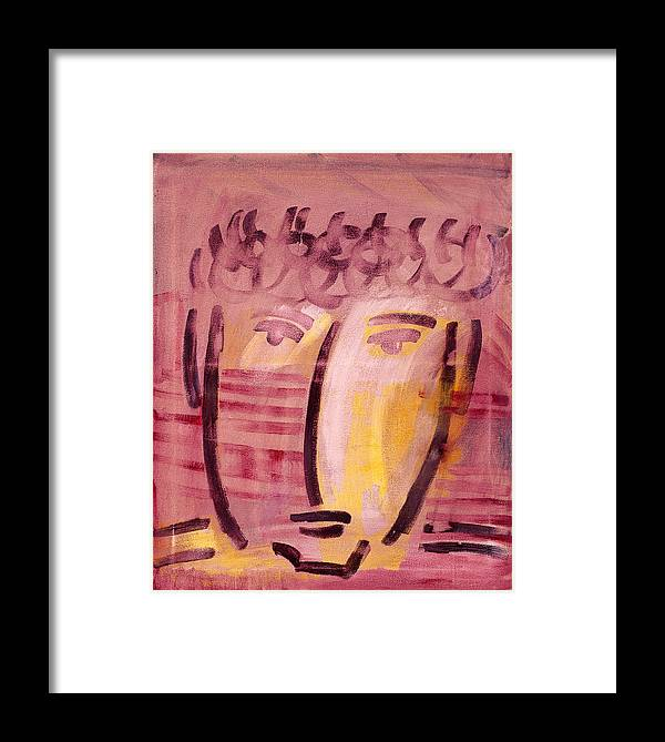 Abstract Framed Print featuring the painting Inca Head by Michael Keogh