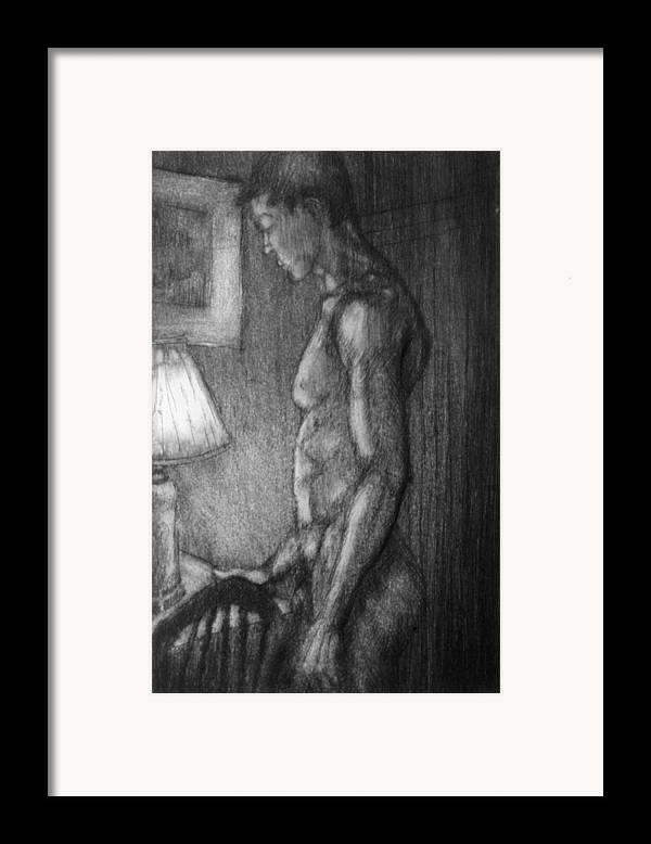 Man Framed Print featuring the drawing Incandescent by John Clum