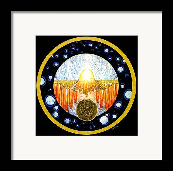 Soul Spreads Its Framed Print featuring the painting Incarnation  Mandala Series by Pam Ellis
