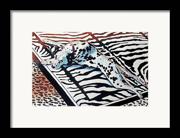 Animal/dog/dalmatian Framed Print featuring the painting Incognito by Gail Zavala