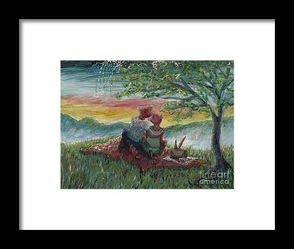 Landscape Framed Print featuring the painting Independance Day Pignic by Nadine Rippelmeyer