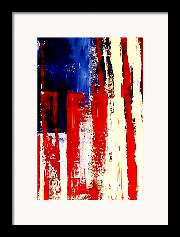 Flag Framed Print featuring the painting Independence Day by Charles Jos Biviano