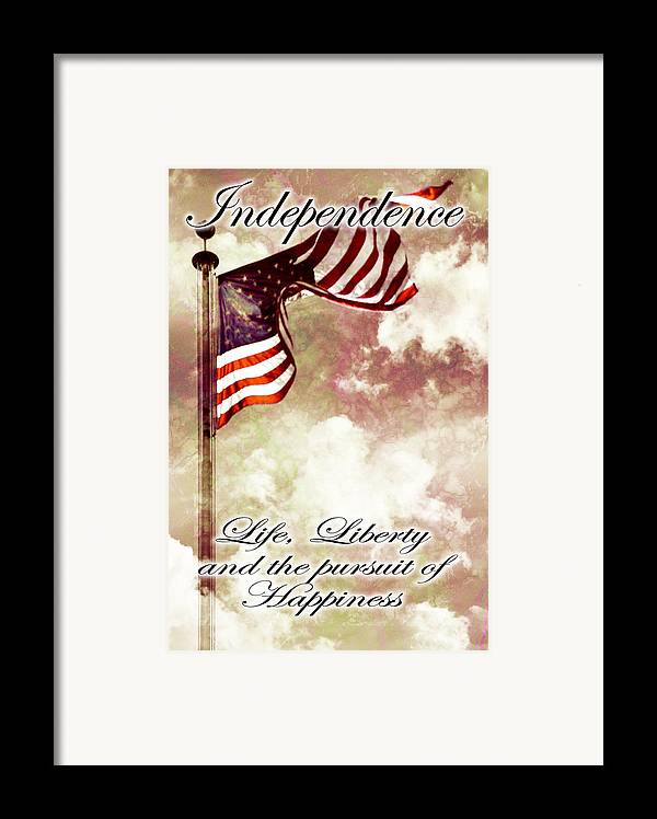4 Framed Print featuring the digital art Independence Day Usa by Phill Petrovic