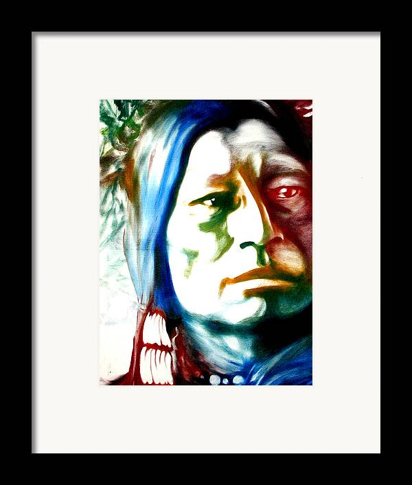 Portrait Framed Print featuring the painting Indian 1 by Scott Robinson