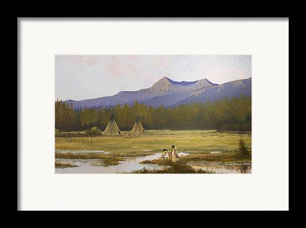 Landscape & Figures Framed Print featuring the painting Indian Camp by Dalas Klein