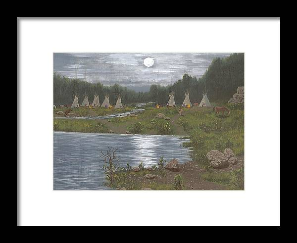 Indians Framed Print featuring the painting Indian Camp by Don Lindemann