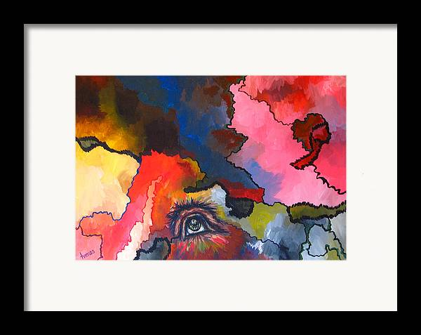 Original Framed Print featuring the painting Indian Eye by Laura Tveras