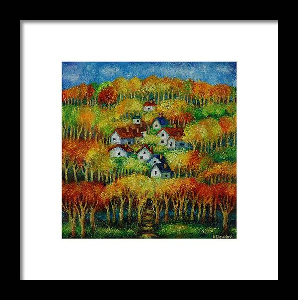 Landscape Framed Print featuring the painting Indian Fall No 1. by Evgenia Davidov