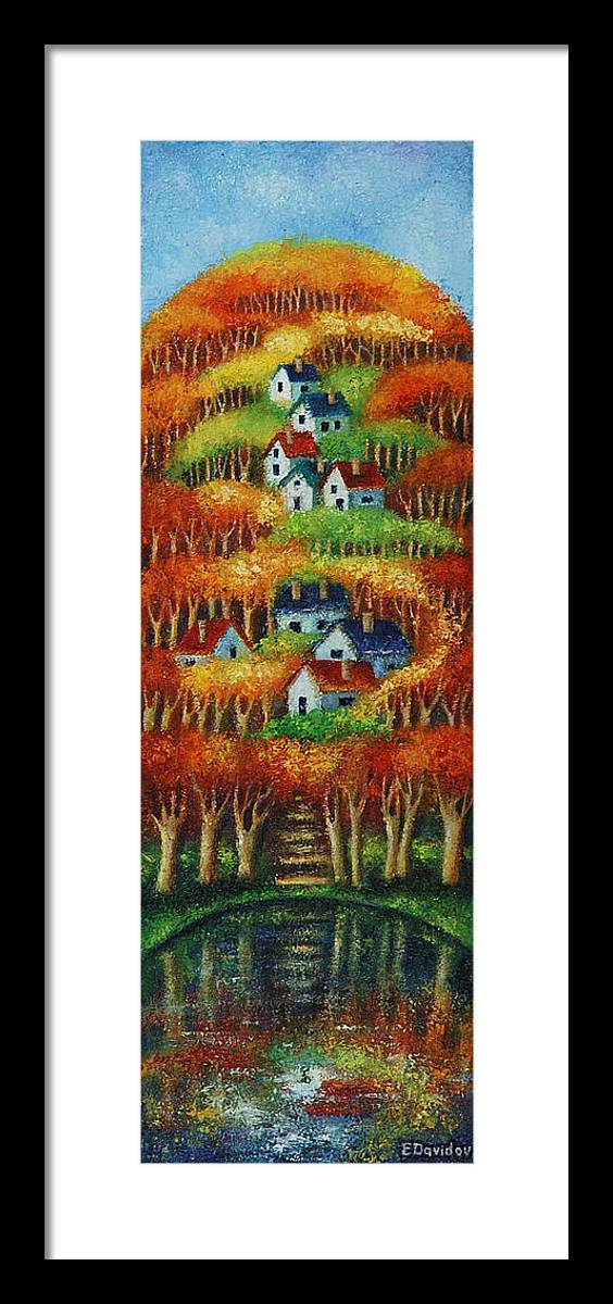 Landscape Framed Print featuring the painting Indian Fall No 2. by Evgenia Davidov