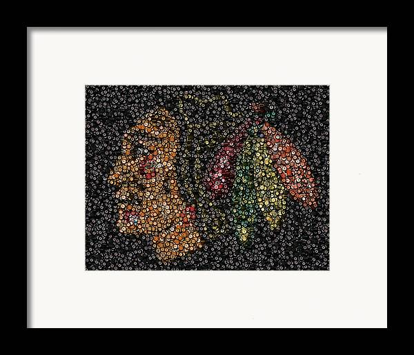 Chicago Framed Print featuring the mixed media Indian Hockey Puck Mosaic by Paul Van Scott