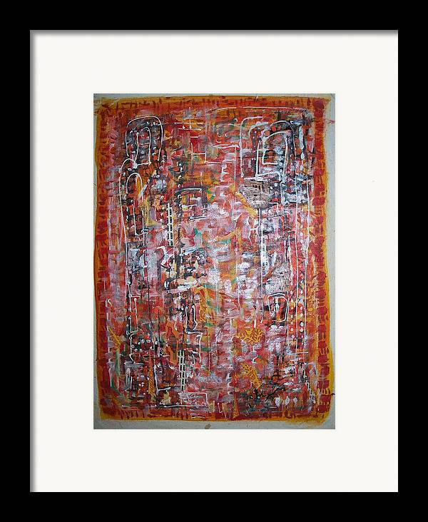 Abstract Framed Print featuring the painting Indian Light by Helene Champaloux-Saraswati