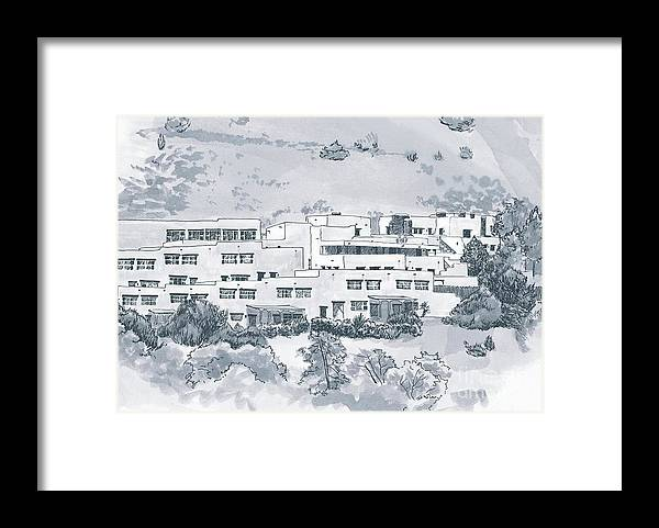 Landscape Framed Print featuring the drawing Indian Lodge by Karen Boudreaux