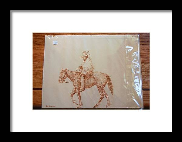 Indian Framed Print featuring the drawing Indian On Horse by Smart Healthy Life